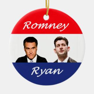 Romney Ryan retro Adorno Navideño Redondo De Cerámica