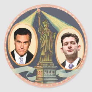 Romney Ryan Retro Classic Round Sticker