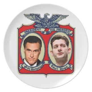 Romney Ryan retro Plato De Cena