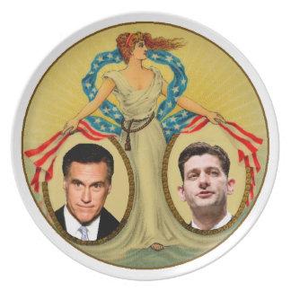 Romney Ryan retro Plato Para Fiesta