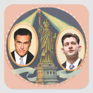 Romney Ryan Retro Square Sticker