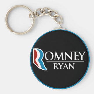 Romney Ryan Round (Black) Basic Round Button Keychain
