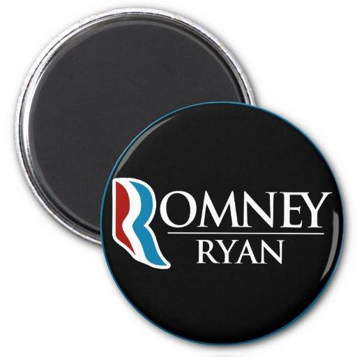 Romney Ryan Round (Black) Fridge Magnet