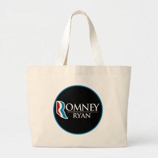 Romney Ryan Round (Black) Large Tote Bag
