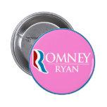 Romney Ryan Round (Pink) Pinback Button