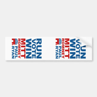 Romney Ryan Run Vote Win Car Bumper Sticker