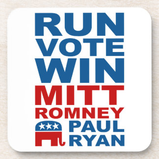 Romney Ryan Run Vote Win Beverage Coasters