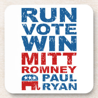 Romney Ryan Run Vote Win Beverage Coaster