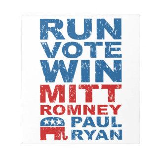 Romney Ryan Run Vote Win Note Pads