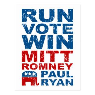 Romney Ryan Run Vote Win Postcards