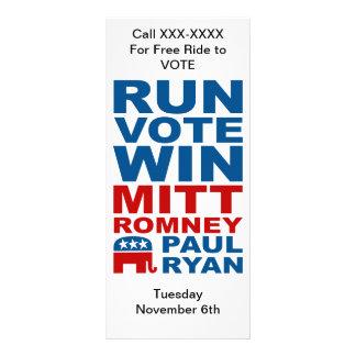 Romney Ryan Run Vote Win Custom Rack Cards