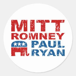Romney Ryan Run Vote Win Classic Round Sticker