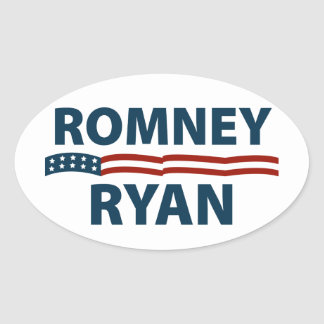 Romney Ryan Stars and Stripes Oval Sticker