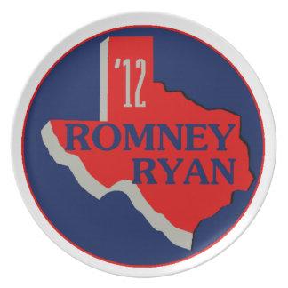 Romney Ryan TEJAS Plato De Comida