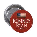 Romney Ryan USA Flag Pinback Button