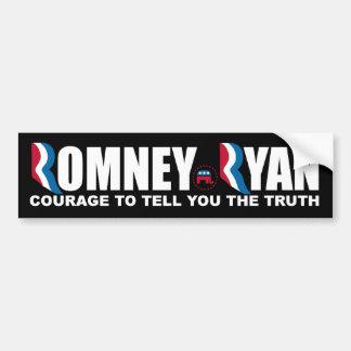 Romney - Ryan - valor de decirle la verdad Etiqueta De Parachoque