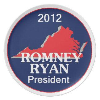 Romney Ryan VIRGINIA Plato De Comida