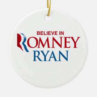ROMNEY RYAN VP BELIEVE.png Double-Sided Ceramic Round Christmas Ornament