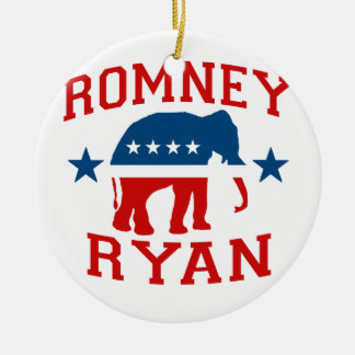 ROMNEY RYAN VP GOP MASCOT.png Double-Sided Ceramic Round Christmas Ornament