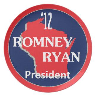 Romney Ryan WISCONSIN Platos Para Fiestas