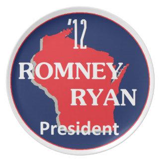 Romney Ryan WISCONSIN Platos De Comidas
