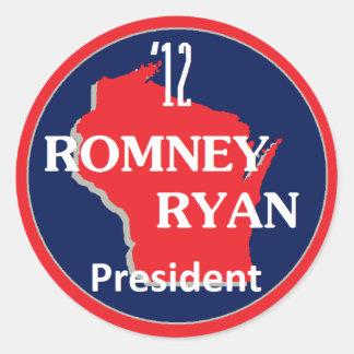 Romney Ryan WISCONSIN Round Sticker