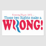 Romney Ryan Wrong Rectangular Sticker