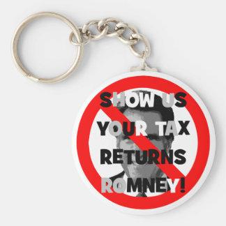 Romney tax returns basic round button keychain