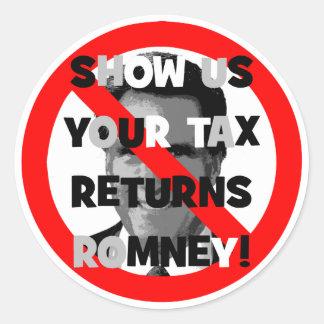 Romney tax returns classic round sticker