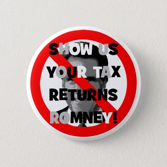 Romney tax returns pinback button