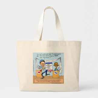 Romney Tries Zingers on Obama Funny Gifts & Cards Large Tote Bag