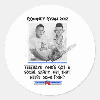 romney tshirt.jpg de Ryan de la red de seguridad Etiquetas Redondas