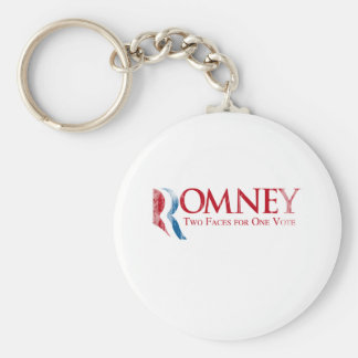 Romney - Two Faces for one Vote.png Basic Round Button Keychain