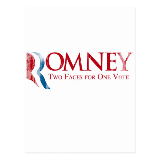 Romney - Two Faces for one Vote.png Postcard