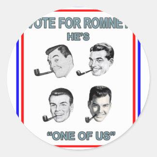 Romney uno de nosotros 4 pegatina redonda