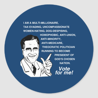 Romney Vote for Me.png Classic Round Sticker