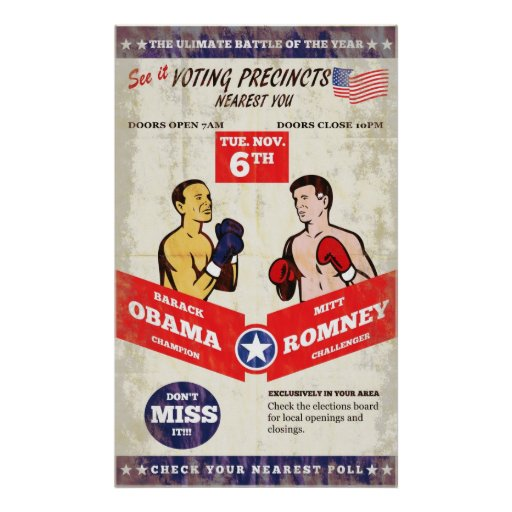 Romney Vs Obama American Elections 2012 Boxing Pos Posters