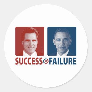 Romney Vs. Obama - Success Vs. Failure Round Sticker