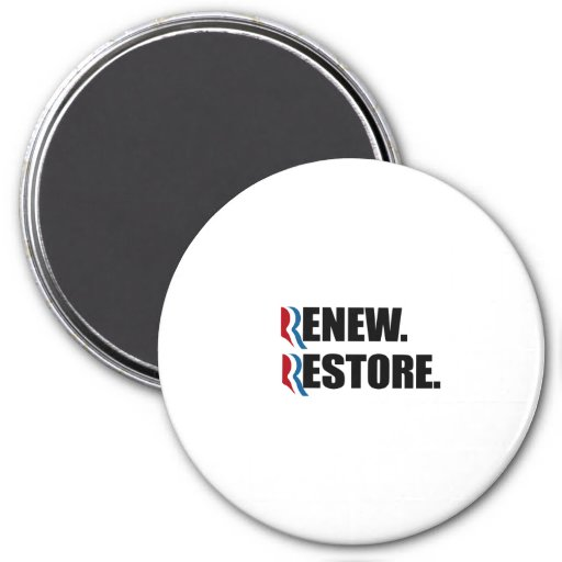 ROMNEY WILL RENEW AND RESTORE.png 3 Inch Round Magnet