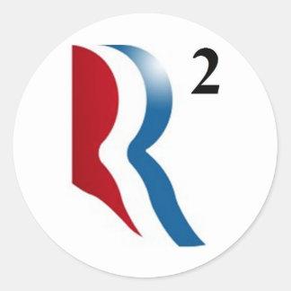 """Romney y Ryan 2012 - """"R ajustados """" Pegatina Redonda"""
