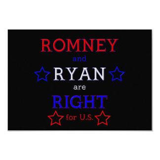 """Romney y Ryan correctos para los E.E.U.U. Invitación 3.5"""" X 5"""""""