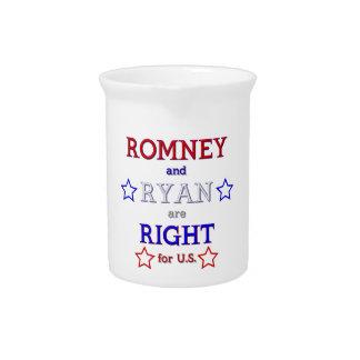 Romney y Ryan correctos para los E E U U Jarras De Beber