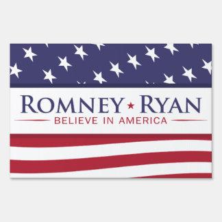 Romney y Ryan creen en muestra de la yarda de la b
