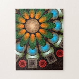 Rompecabezas abstracto floral lindo del arte del v