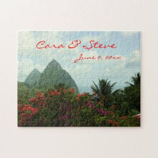 Rompecabezas adaptable del boda del paraíso tropic
