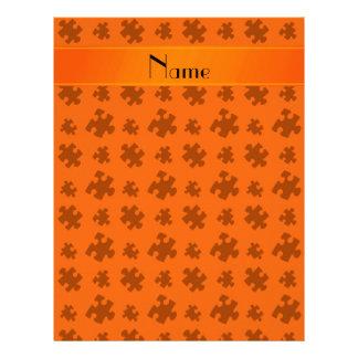 Rompecabezas anaranjado conocido personalizado membrete personalizado