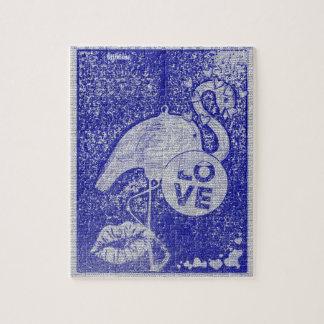 Rompecabezas azul de la foto del flamenco 8x10 del