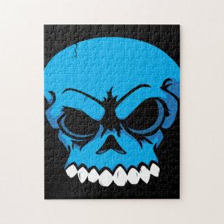 Rompecabezas azul del cráneo del vector