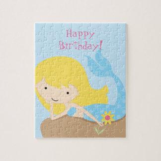 Rompecabezas azul lindo del feliz cumpleaños de la