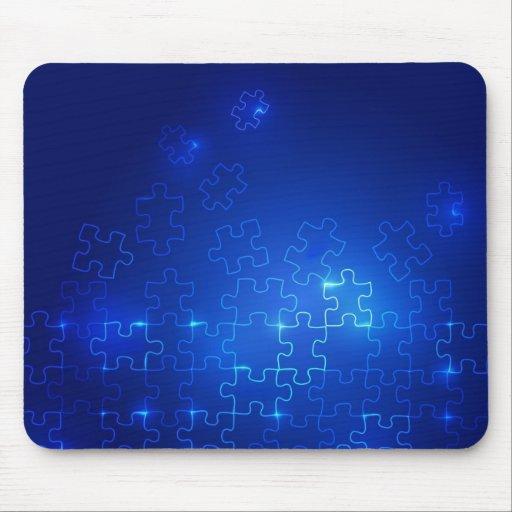 Rompecabezas azul que brilla intensamente de Mouse Alfombrilla De Ratones